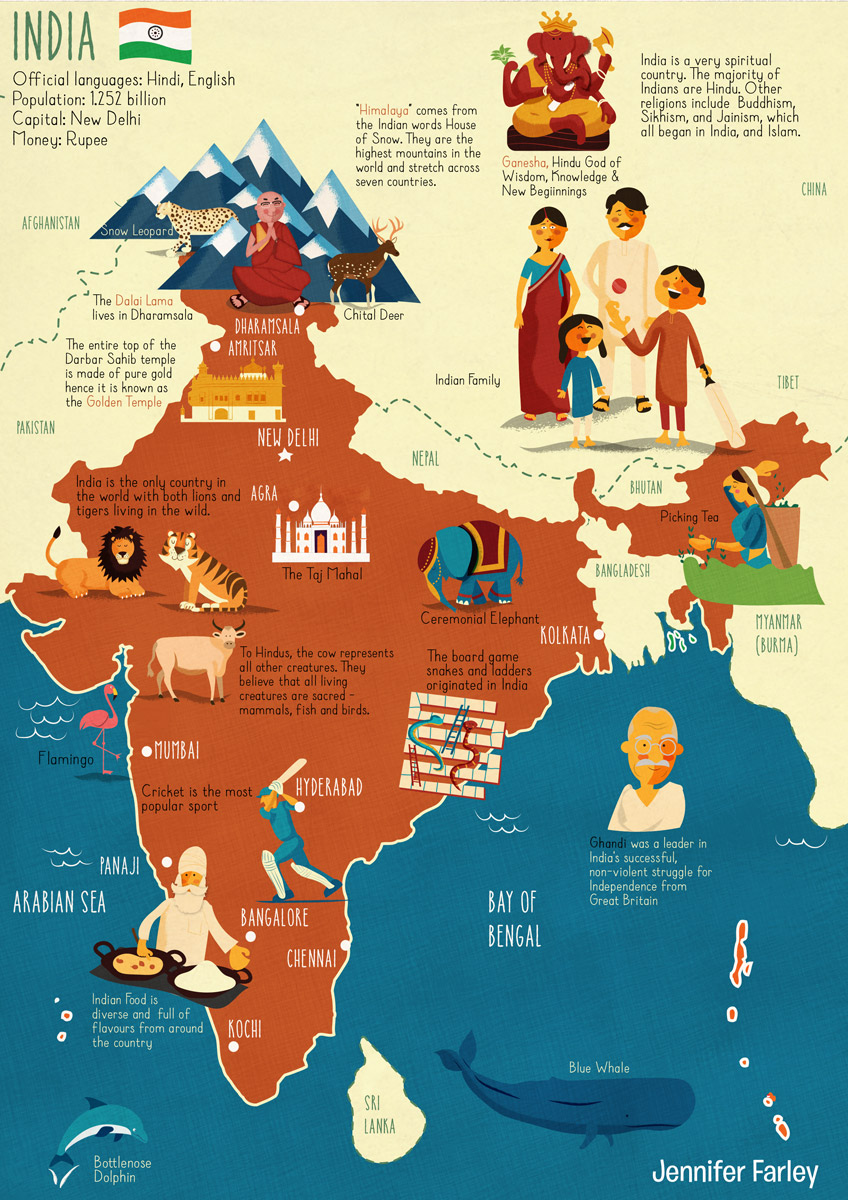 Map of India | Jennifer Farley Illustration, Maps. Design
