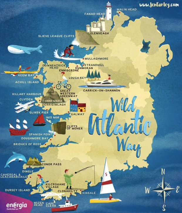 Wild Atlantic Way Map Illustrated by Jennifer Farley