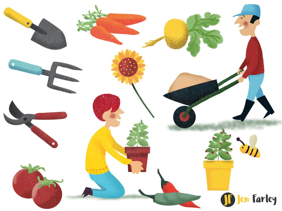 Gardening Map Icons illustrated by Jennifer Farley
