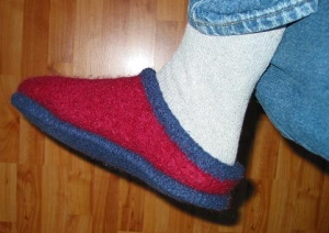 Finished felted slipper