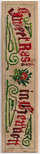 """Stitching for Literacy, Don's bookmark, """"Sweet Rest in Heaven"""""""