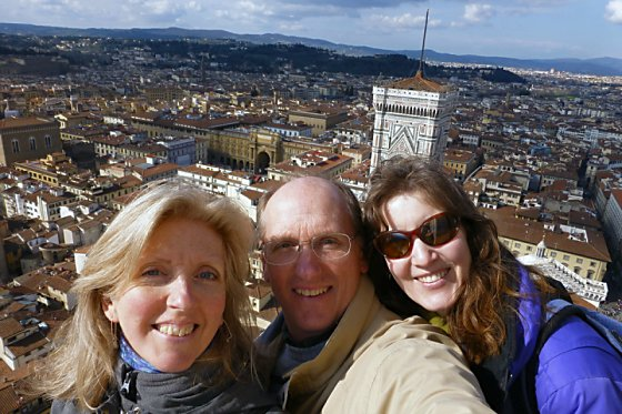 Barb, Mike, and Jen at the top of Il Duomo in Florence.