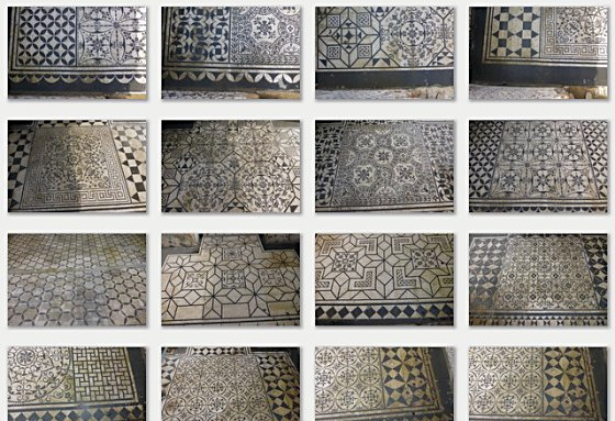Black and white mosaic patterns