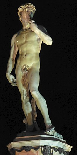 A replica of the David statue.