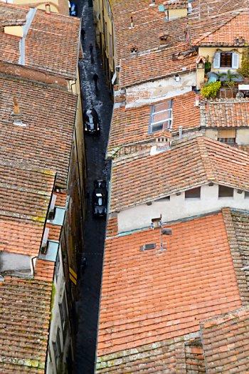Looking down on Via Santa Andrea from Torre dei Guinigi