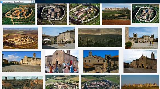 "Screen shot of a Google image search for ""Monteriggioni."""