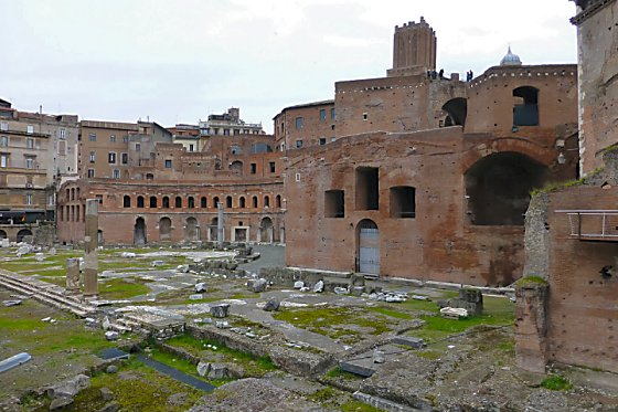 Brick ruins of Trajan's marketplace and the Imperial Forum in Rome.
