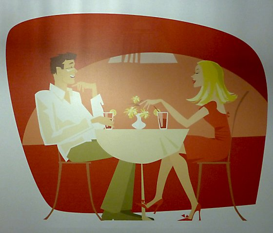 Cartoon image of man and woman dining that reminds us of the Jetsons.