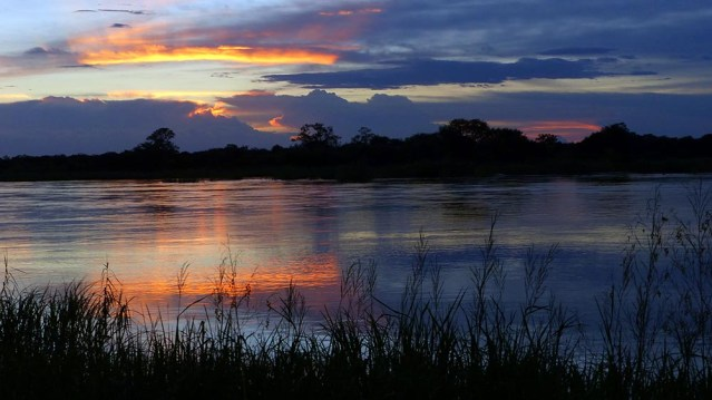 Sunset over the Okavango River.