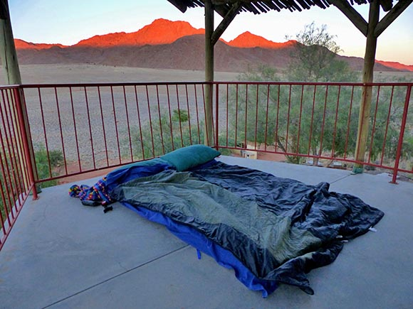Camped out on the deck, Tiras Guest Farm, Namibia