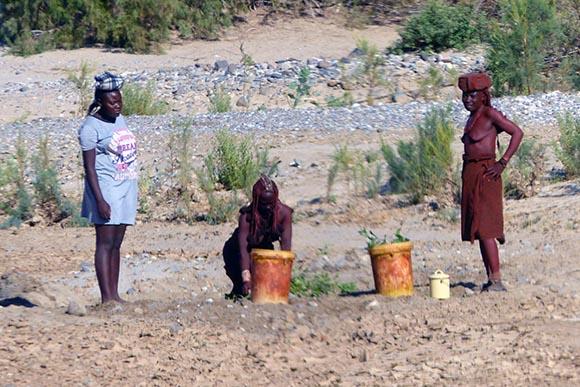 Himba women getting water from a waterhole.