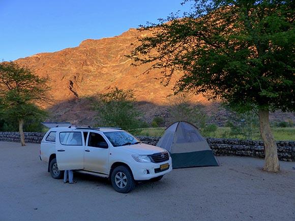 Camping at Ai-Ais Hot Springs Resort, Namibia