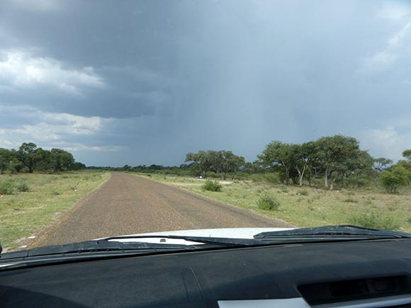 The road to Maun, Botswana, through a rain storm.