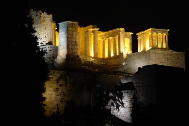Propylaia and Temple of Athena Nike at Night, Athens - Jen Funk Weber