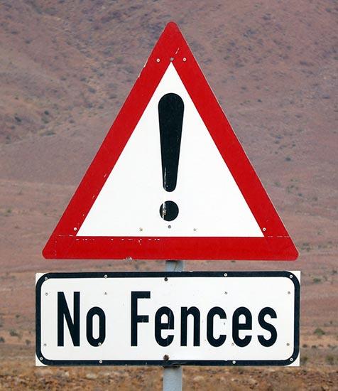 No fences, animal sign