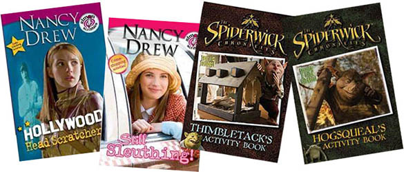 Nancy Drew and Spiderwick Chronicles movie tie-in puzzle books, by Jen Funk Weber, published by Simon & Schuster