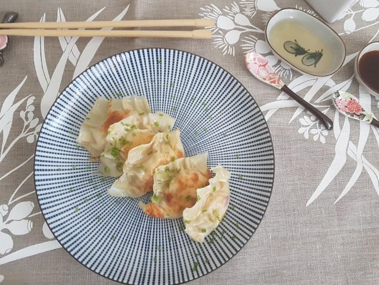 Dumplings de pollo y col