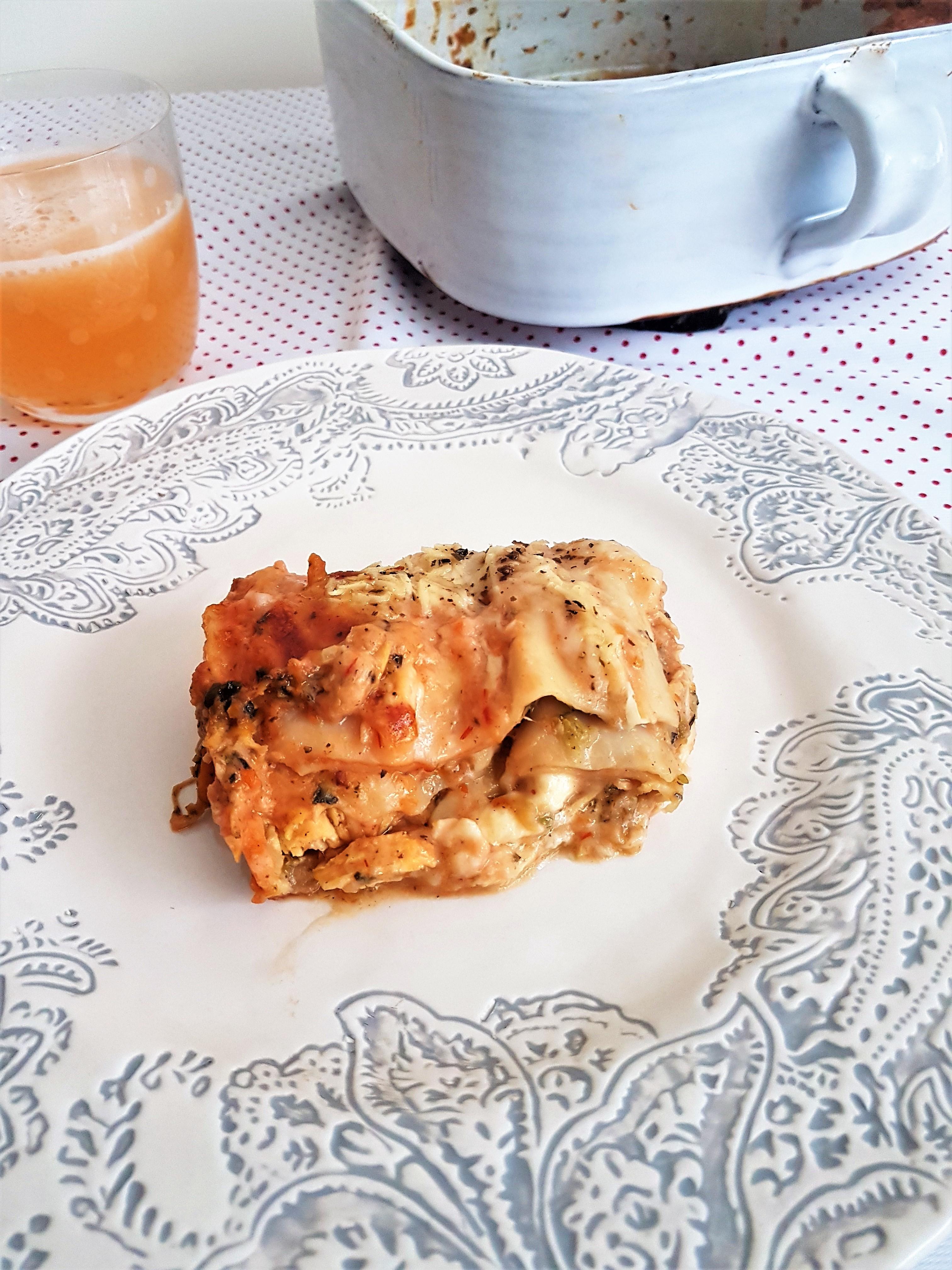 Lasaña de pollo y verduras