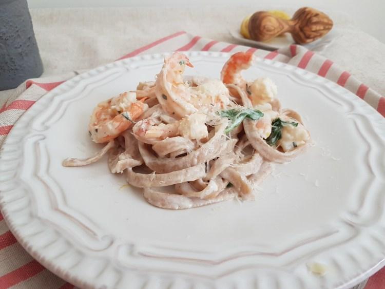 Linguini con camarones al limón