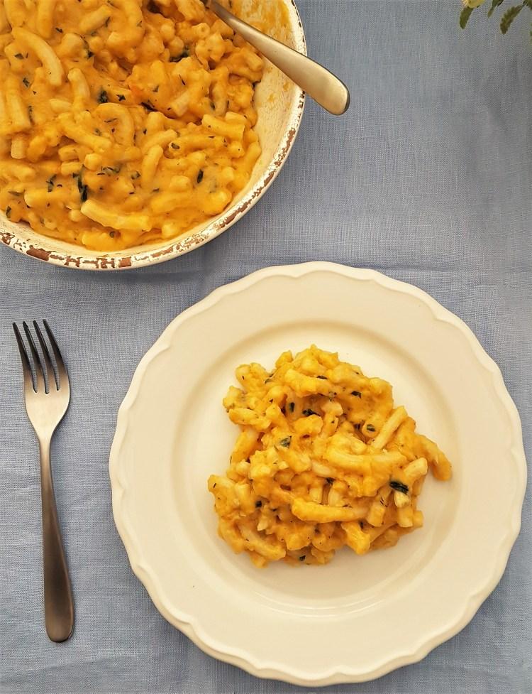 Macarrones con queso y verdura