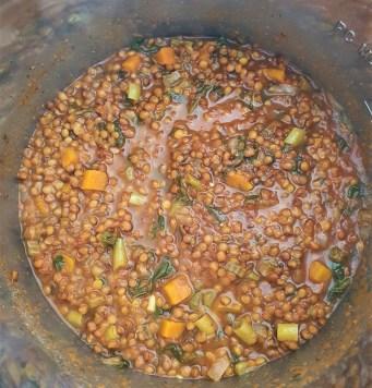 Calabazas rellenas de sopa de lenteja