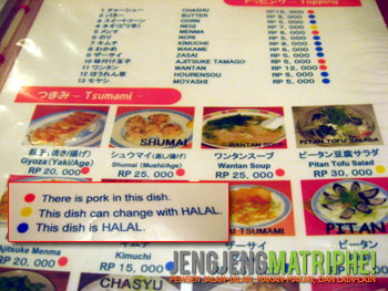 Daftar menu Ramen 38