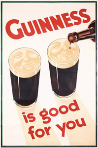 "Poster iklan ""Guinness is Good for You"" tahun 1920-an"