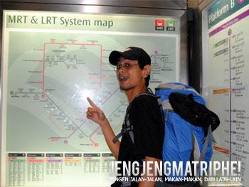 Peta rute MRT (Mass Rapit Transportation) dan LRT (Light Rail Transit) di Singapura