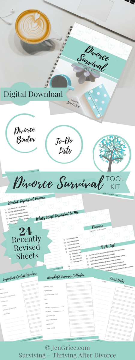 Be organized, feel confident and be prepared with thisDivorce Survival Digital Tool Kit. The kit (PDF printable packet) includes every page needed to create your own Divorce Binder – a resourceful tool for surviving a divorce.