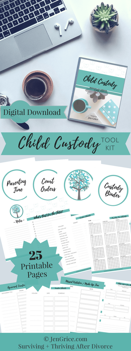 Be organized, feel confident and be prepared with this Child Custody Digital Tool Kit. The kit (PDF printable packet) includes every page needed to create your own Custody Binder – a resourceful tool for surviving a divorce with child custody. via @msjengrice