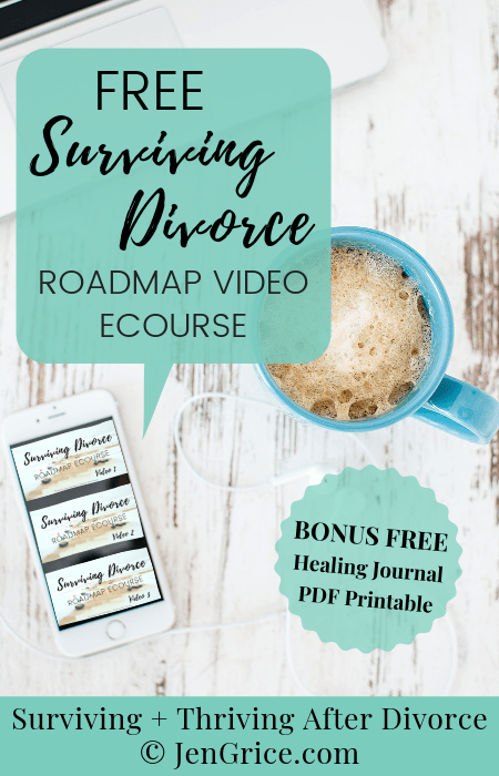 FREE Surviving Divorce Roadmap eCourse plus a BONUS free healing journal printable sheet. You do not have to walk this path to surviving divorce alone! Jen Grice shares the roadmap she took from preparing for a divorce and barely surviving... to thriving after divorce. via @msjengrice