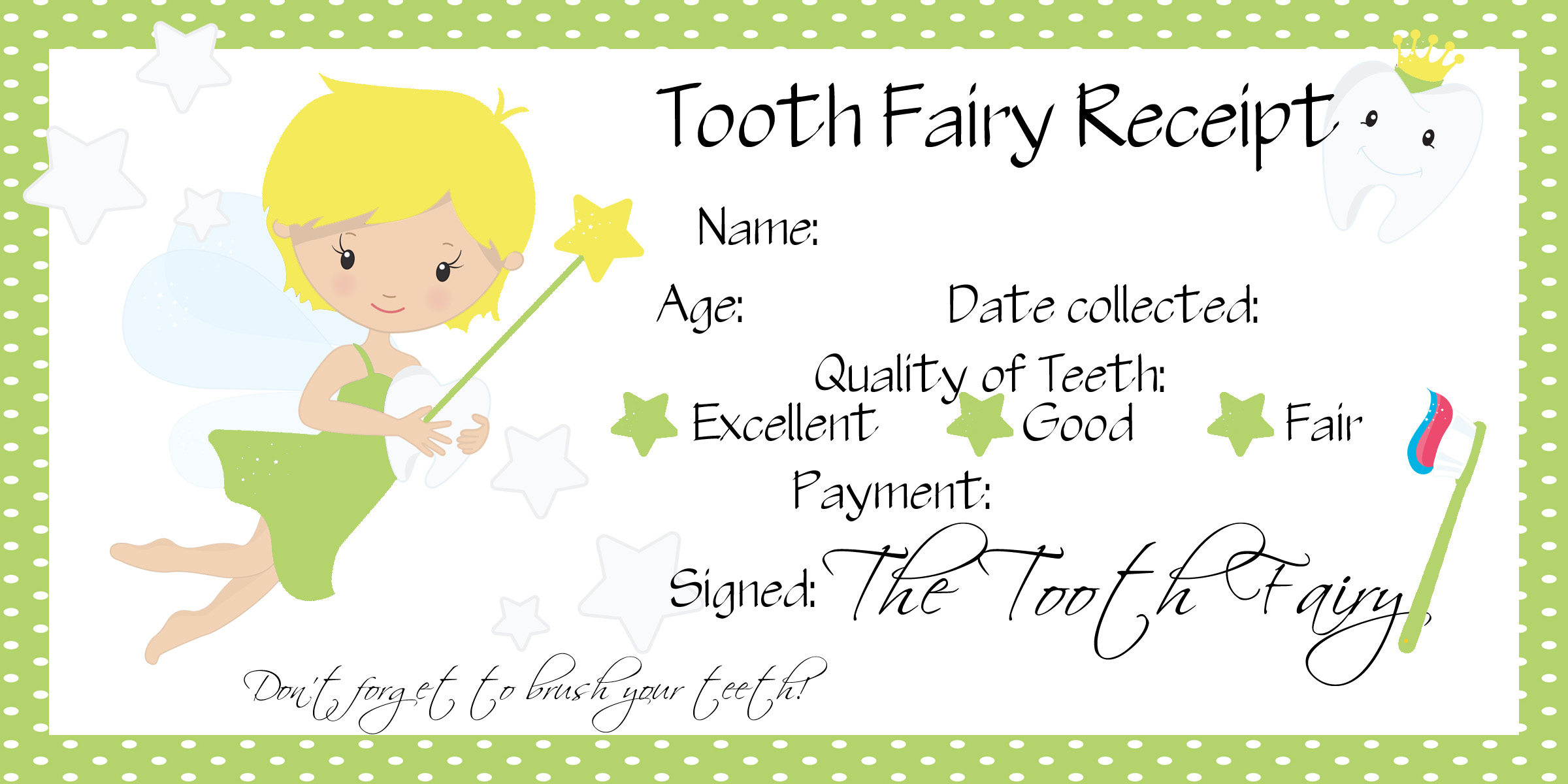 O S First Lost Tooth Tooth Fairy Receipt Free Printable