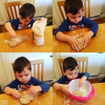 Jo's son making sourdough