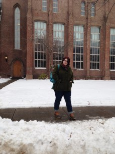 Kate outside the Yale Peabody Museum in New Haven, CT