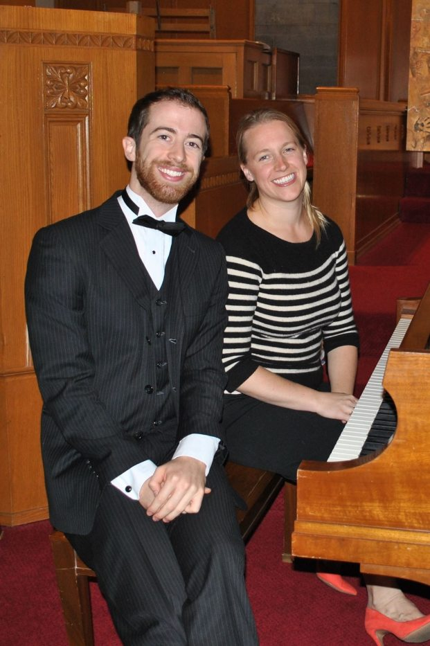 """Gabe di Gennaro and Sarah say """"cheese"""" after a perfromance of The NIghtmare Before Christmas"""