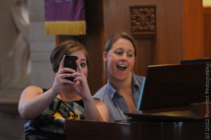 Goofing with soprano Carrie Kocsis