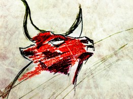 JENMEDIA IMAGES / RANDOM ACTS OF DOODLE / BULL SUGAR FIRE QUICK SKETCH
