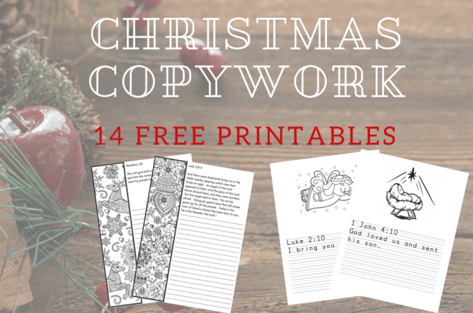 Check out these free homeschool printables! There's 14 handwriting worksheets of Christmas themed copywork printables for multiple age levels (Kindergarten, Elementary, and Middle School). Even better, the worksheets include coloring pages! Get your homeschooler some writing practice over the holidays with these amazing free resources!!