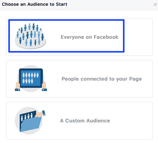Facebook Ads Manager allows you to begin your targeting efforts with the entire Facebook community in the United States. Currently that number sits at 230,000,000!!