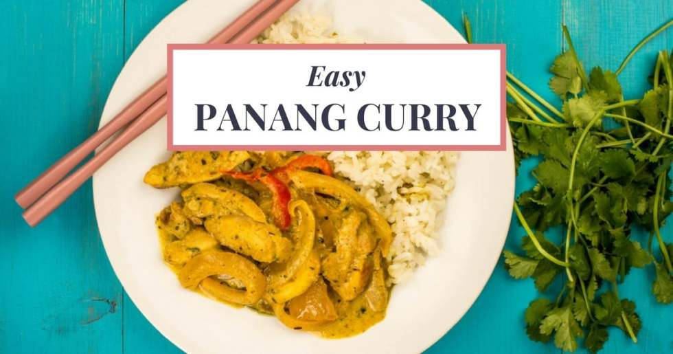 Easy Panang Curry recipe you will love! I've spent years trying to recreate my favorite Thai dish at home! Finally, I found the right balance of flavors! Plus-- it's quick, easy, and requires only 6 pantry items!