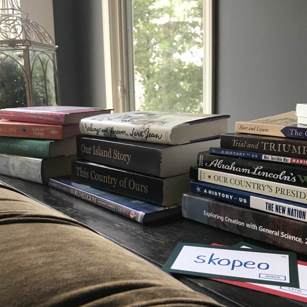 Homeschool books on table