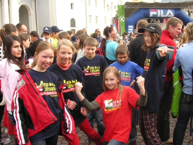 Team t-shirts were always a big hit. KE skiers at an international children's race in Italy.