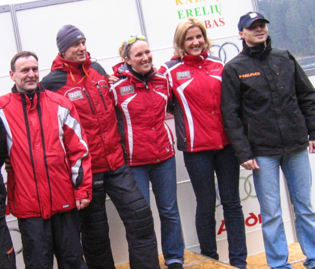 I pulled in everyone I knew who could ski and was good with kids. Coaches Audrius Santackas, Andrius Bublys, the author, Viktorija Vasilauskaite, and Andrius Grigaras in Ignalina.