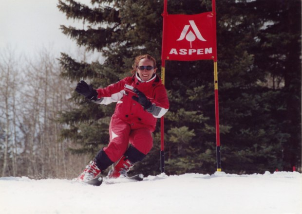 Teaching kids to run gates as an Aspen ski instructor.