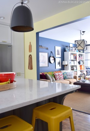 kitchen paint living open concept colors renovation plan yellow office navy burger which well floor choosing jennaburger before remodel hue