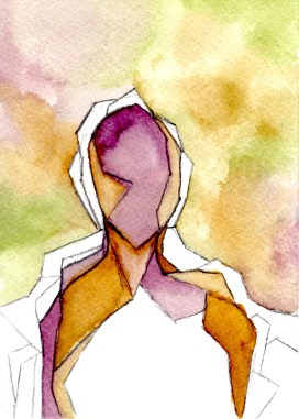 "Title: Anonymous (False Portrait) Size: 5""x7"" Medium: Watercolor and graphite on paper Date: 2014 Copyright Jenna Decker"