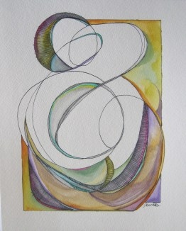 Title: Color Scheme No. 1 Size: 8″x10″ Medium: Watercolor and ink on paper Date: 2015 Copyright Jenna Decker