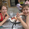 Micaela and Jessica get messy with crepes in Santa Monica.