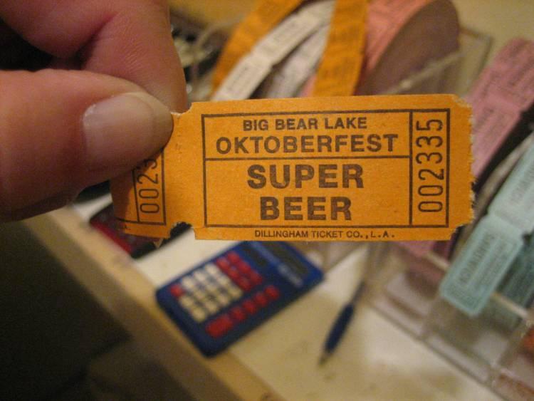 Big Bear Oktoberfest beer ticket