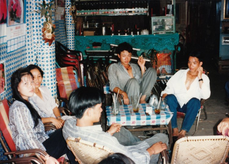 Vietnamese villagers in a cafe